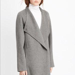 Vince Gray Sweater Back Asymmetric Front Car Coat